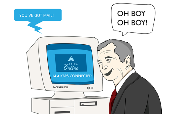 Bush loves his AOL dial-up